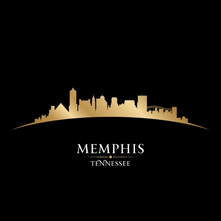tennesse: Memphis Tennessee horizonte de la ciudad silueta ilustraci�n vectorial