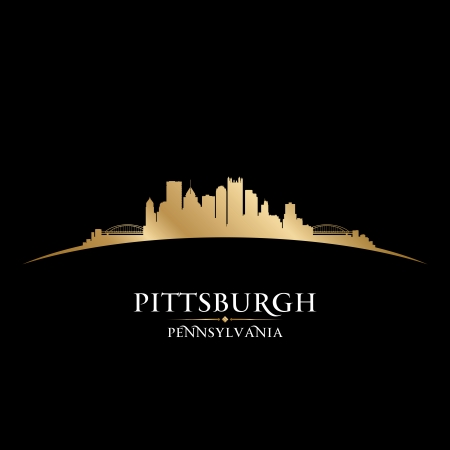 sky scrapers: Pittsburgh Pennsylvania city skyline silhouette  Vector illustration Illustration