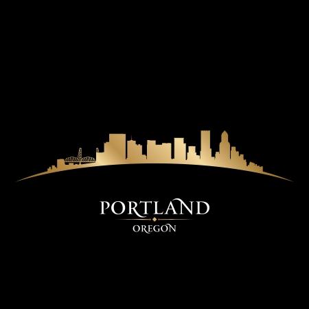 オレゴン州ポートランド市のスカイライン シルエット ベクトル イラスト