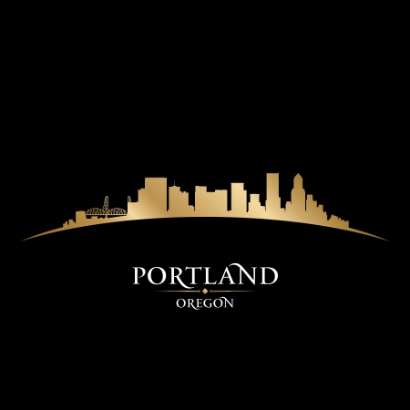 oregon: Portland Oregon city skyline silhouette  Vector illustration