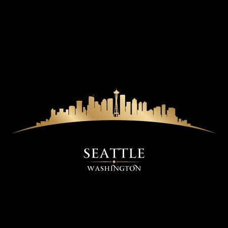 ワシントン州シアトル市のスカイライン シルエット ベクトル イラスト