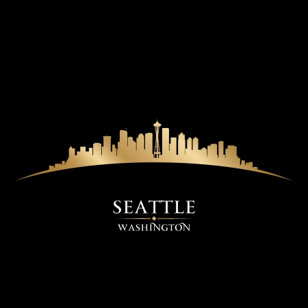 Seattle Washington city skyline silhouette Vector illustration