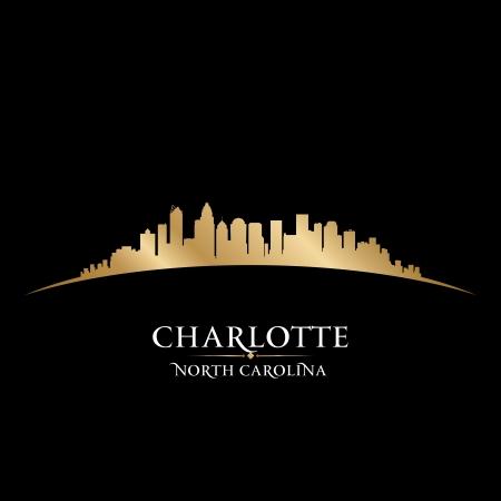 gold coast: Charlotte North Carolina city skyline silhouette. Vector illustration