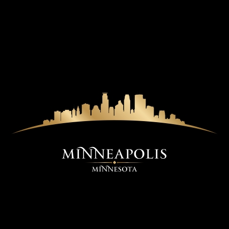 Minneapolis Minnesota city skyline silhouette. Vector illustration Иллюстрация