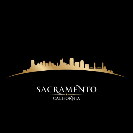 カリフォルニア州サクラメント市のスカイラインのシルエット。ベクトル イラスト  イラスト・ベクター素材