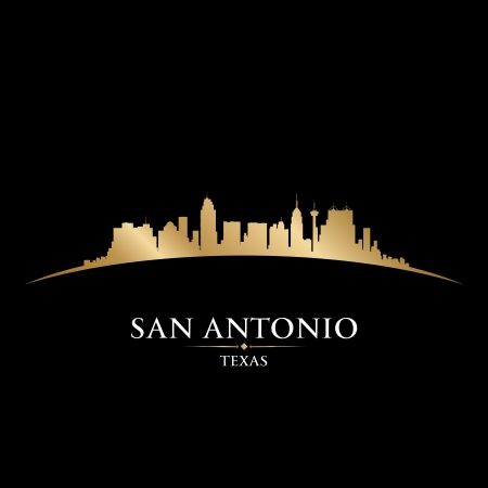 San Antonio テキサス都市のスカイラインのシルエット。ベクトル イラスト