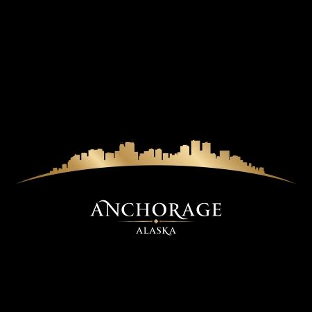 アンカレッジ アラスカの都市のスカイラインのシルエット。ベクトル イラスト  イラスト・ベクター素材
