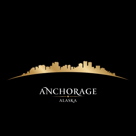 Anchorage Alaska city skyline silhouette. Vector illustration Иллюстрация