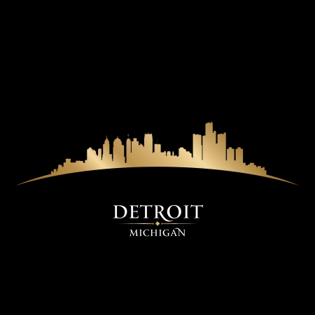 Detroit Michigan city skyline silhouette. Vector illustration