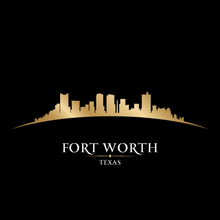gold coast: Fort Worth Texas city skyline silhouette. Vector illustration
