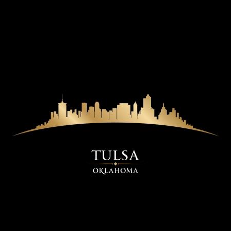 オクラホマ州タルサ市のスカイラインのシルエット。ベクトル イラスト  イラスト・ベクター素材