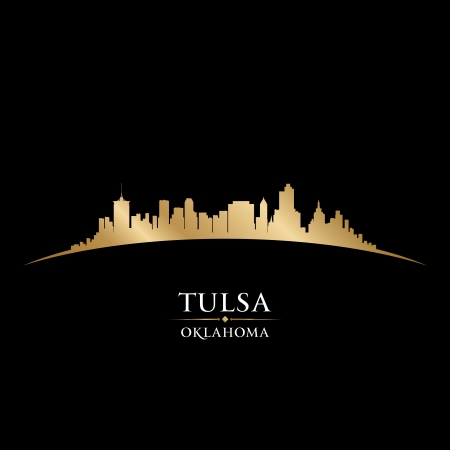 oklahoma: Tulsa Oklahoma city skyline silhouette. Vector illustration