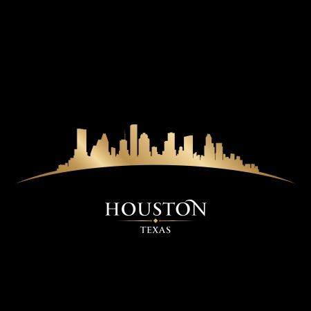 テキサス州ヒューストン市のスカイラインのシルエット。ベクトル イラスト