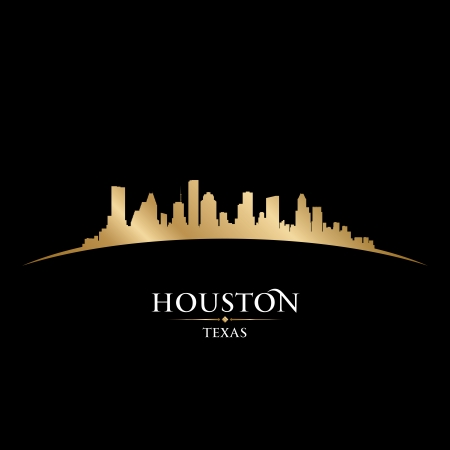 houston: Houston Texas city skyline silhouette. Vector illustration