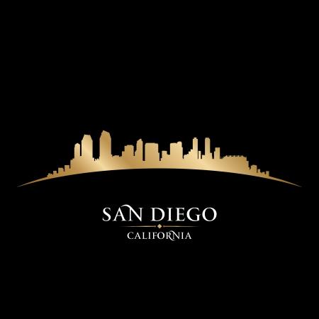 カリフォルニア州サンディエゴ市のスカイラインのシルエット。ベクトル イラスト  イラスト・ベクター素材