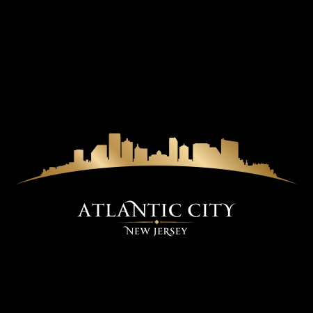 gold coast: Atlantic city New Jersey skyline silhouette. Vector illustration Illustration