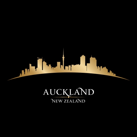 sky scrapers: Auckland New Zealand city skyline silhouette. Vector illustration