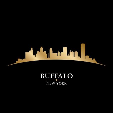 バッファローのニューヨーク市のスカイラインのシルエット。ベクトル イラスト