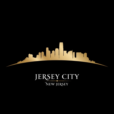 jersey: Jersey city New Jersey skyline silhouette. Vector illustration