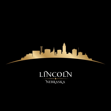 lincoln: Lincoln Nebraska city skyline silhouette. Vector illustration