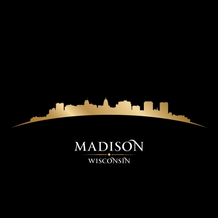 madison: Madison Wisconsin city skyline silhouette. Vector illustration