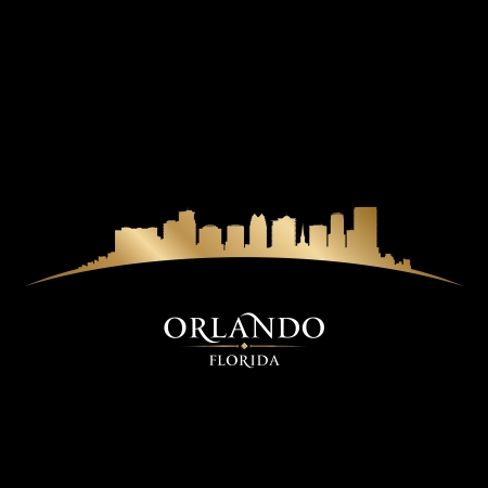 orlando: Orlando Florida city skyline silhouette. Vector illustration