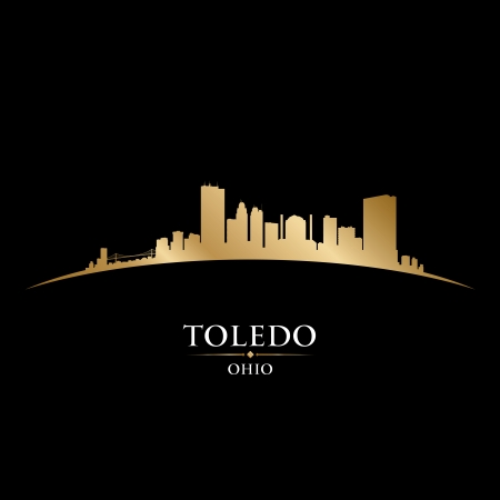 ohio: Toledo Ohio city skyline silhouette. Vector illustration Illustration