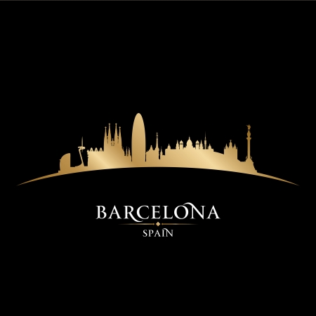 Barcelona Spain city skyline silhouette. Vector illustration Vector