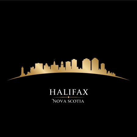 Nova Scotia: Halifax Nova Scotia Canada city skyline silhouette. Vector illustration Illustration
