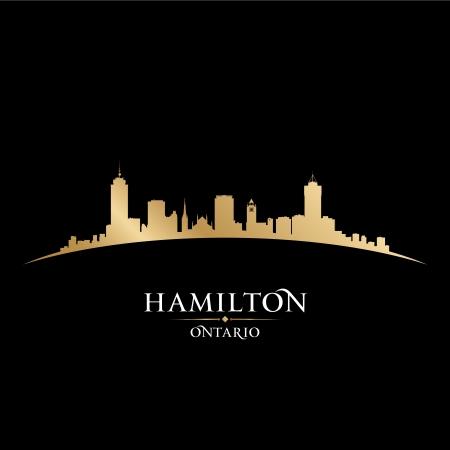 ontario: Hamilton Ontario Canada skyline della citt� silhouette. Vector illustration Vettoriali