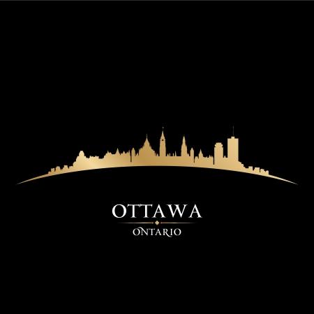 カナダ オンタリオ州オタワ市のスカイラインのシルエット。ベクトル イラスト  イラスト・ベクター素材