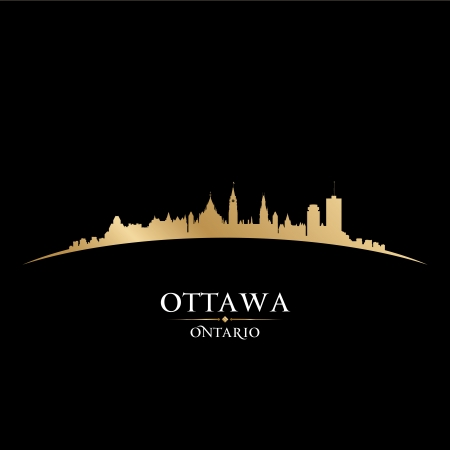 ontario: Ottawa Ontario Canada city skyline silhouette. Vector illustration Illustration