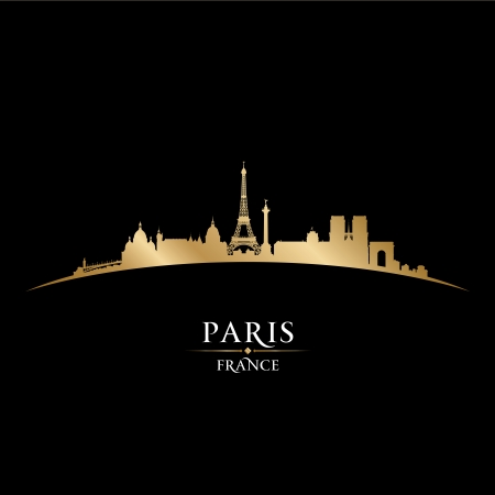 Paris France city skyline silhouette. Vector illustration Vector