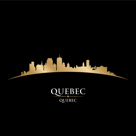 quebec: Quebec Canada city skyline silhouette. Vector illustration