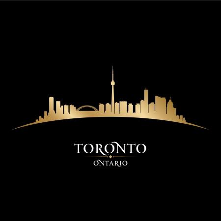 カナダ オンタリオ州トロント市のスカイラインのシルエット。ベクトル イラスト