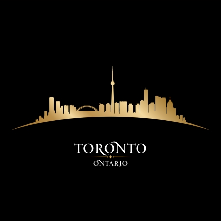 highrise: Toronto Ontario Canada city skyline silhouette. Vector illustration Illustration