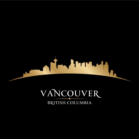 scrapers: Vancouver British Columbia Canada city skyline silhouette. Vector illustration