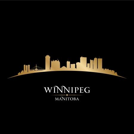 manitoba: Winnipeg Manitoba Canada city skyline silhouette. Vector illustration Illustration