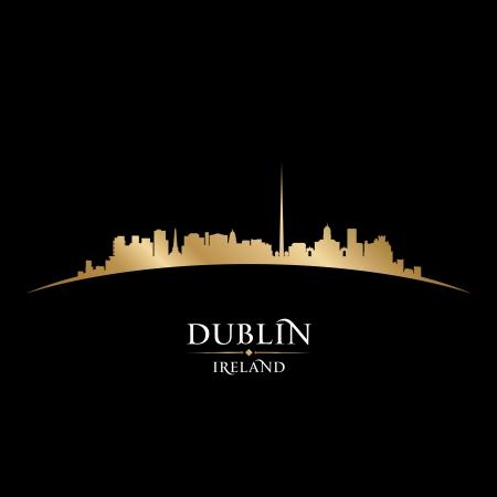 ダブリン アイルランドの都市のスカイラインのシルエット。ベクトル イラスト
