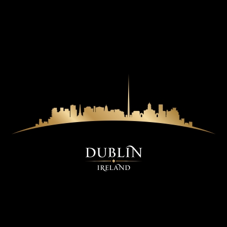 Dublin Ireland  city skyline silhouette. Vector illustration