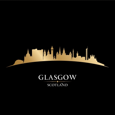 glasgow: Glasgow Scotland city skyline silhouette. Vector illustration