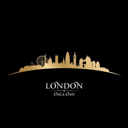 ロンドン イングランド都市スカイライン シルエット。ベクトル イラスト
