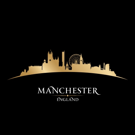 gold coast: Manchester England city skyline silhouette. Vector illustration