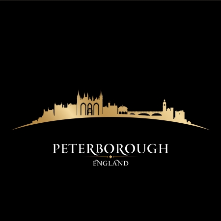 gold coast: Peterborough England city skyline silhouette. Vector illustration Illustration