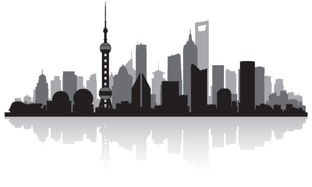 scraper: Shanghai China city skyline vector silhouette illustration