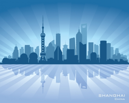 shanghai skyline: Shanghai China city skyline vector silhouette illustration