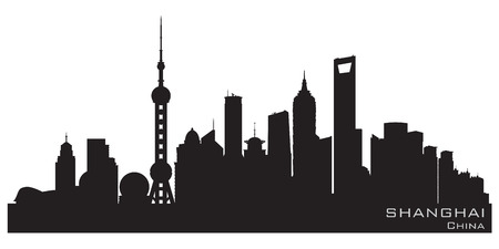 Shanghai China skyline Detailed vector silhouette