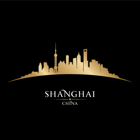 aisa: Shanghai China city skyline silhouette. Vector illustration