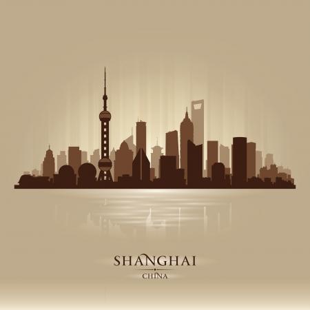 in city: Shanghai China horizonte de la ciudad vector silueta ilustración Vectores