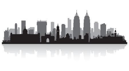 городской пейзаж: Город Мумбаи Индия горизонт векторные иллюстрации силуэт